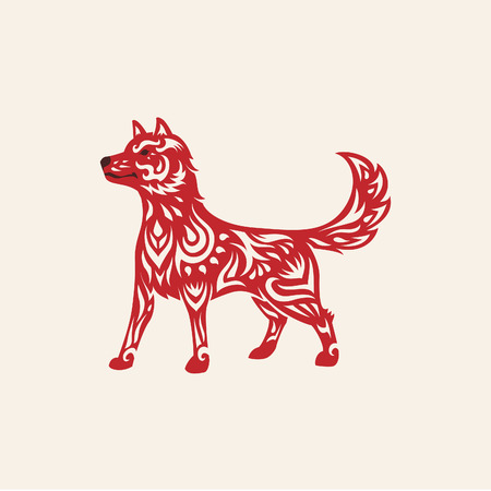 Chinese new year of the dog vector illustration
