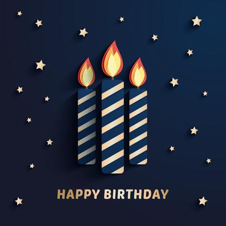 Elegant gold birthday candles paper cut illustration Çizim