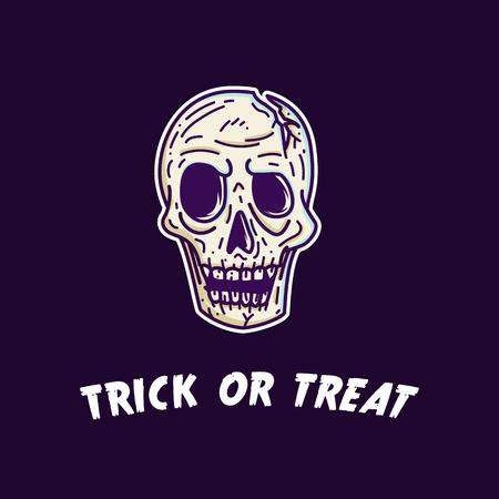 Skull head illustration for halloween
