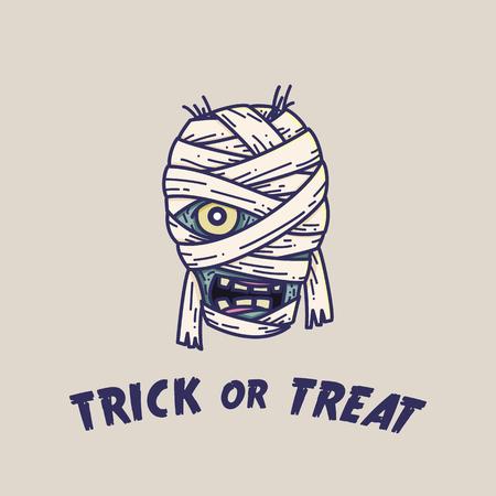 Halloween creepy mummy illustration, for greeting card, banner