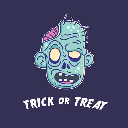 Halloween zombie head cartoon illustration Çizim