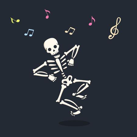 Funny dancing cartoon skeleton illustration Ilustração