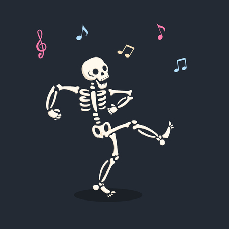 Funny dancing cartoon skeleton illustration