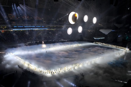 olympic rings: SOCHI, RUSSIA - FEBRUARY 7, 2014: snowflakes, which should become the Olympic rings, appear at the opening ceremony of the XXII Olympic Winter Games in the stadium Fisht on February 7, 2014 in Sochi.
