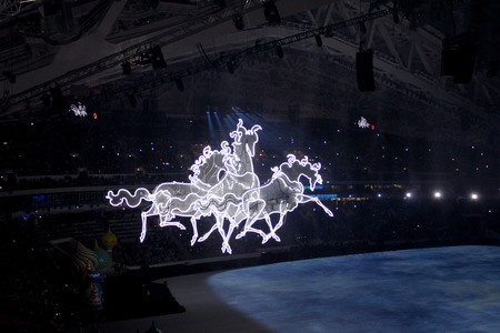 olympic symbol: SOCHI, RUSSIA - FEBRUARY 7, 2014: Russian troika rushes at the opening ceremony of the XXII Olympic Winter Games in the stadium Fisht on February 7, 2014 in Sochi. Its the symbol of Russian courage and love for speed. Editorial