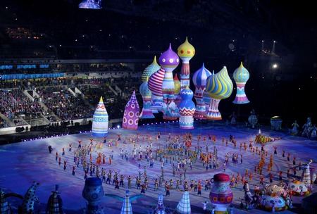 maslenitsa: SOCHI, RUSSIA - FEBRUARY 7, 2014: festivities of Maslenitsa or Pancake Week begin at the opening ceremony of the XXII Olympic Winter Games in the stadium Fisht on February 7, 2014 in Sochi.