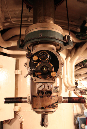 oversee: the periscope in a submarine
