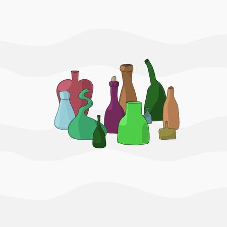 receptacle: bottles of different shapes and colors