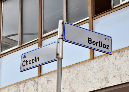 chopin: Street signs: Berlioz and Chopin Streets in Rome Stock Photo