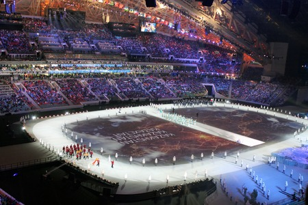 fisht: SOCHI, RUSSIA - FEBRUARY 7, 2014: Parade of Nations at the opening ceremony of the XXII Olympic Winter Games in the stadium Fisht on February 7, 2014 in Sochi.