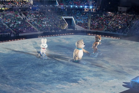 fisht: SOCHI, RUSSIA - FEBRUARY 7, 2014: mascots of the Olympics at the opening ceremony of the XXII Olympic Winter Games in the stadium Fisht on February 7, 2014 in Sochi. Editorial