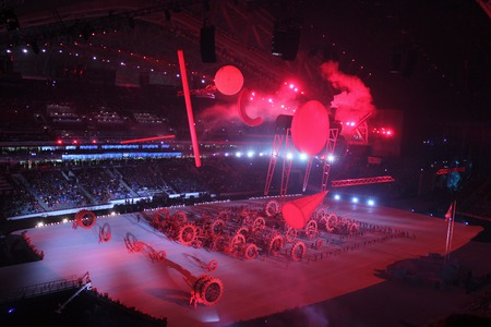 fisht: SOCHI, RUSSIA - FEBRUARY 7, 2014: the opening ceremony of the XXII Olympic Winter Games in the stadium Fisht on February 7, 2014 in Sochi.