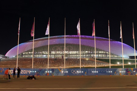 olympic symbol: SOCHI, RUSSIA - FEBRUARY 9, 2014: the Bolshoy Ice Dome in the Olympic Park of the XXII Olympic Winter Games on February 9, 2014 in Sochi.