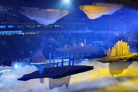fisht: SOCHI, RUSSIA - FEBRUARY 7, 2014: the landscape of Russia floats before the audience at the opening ceremony of the XXII Olympic Winter Games in the stadium Fisht on February 7, 2014 in Sochi. Editorial