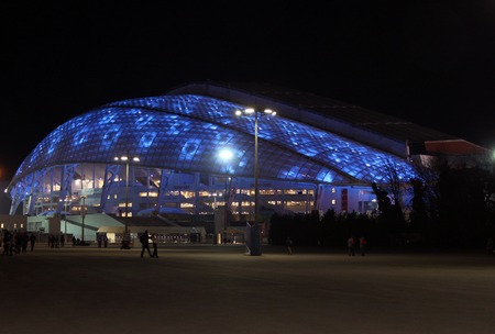 olympic symbol: SOCHI, RUSSIA - FEBRUARY 10, 2014: Fisht Olympic Stadium in the Olympic Park of the XXII Olympic Winter Games on February 10, 2014 in Sochi.