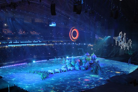 fisht: SOCHI, RUSSIA - FEBRUARY 7, 2014: Chudo Yudo Riba Kyt (the giant Miracle Monster Fish Whale) appears at the opening ceremony of the XXII Olympic Winter Games in the stadium Fisht on February 7, 2014 in Sochi. Editorial