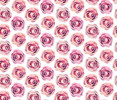 Boho chic floral pattern. Watercolor pink roses. Flowers background