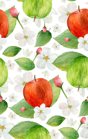Watercolor green and red apples pattern. Fruit food Imagens