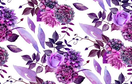Watercolor floral pattern. Purple flowers background Stock Photo - 96183132