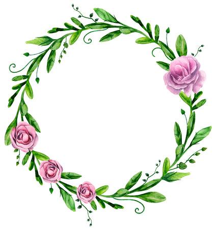 Watercolor greenery. Floral arrangement clip art