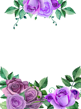 Watercolor roses. Purple flowers bouquet. Greeting card design template Imagens