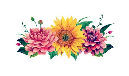 Clipart del mazzo dell'acquerello con l'illustrazione dipinta a mano di vettore dei fiori.