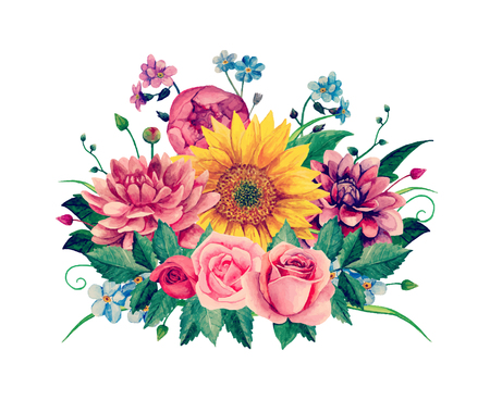 Watercolor floral bouquet clip-art,  Hand painted flowers illustration.