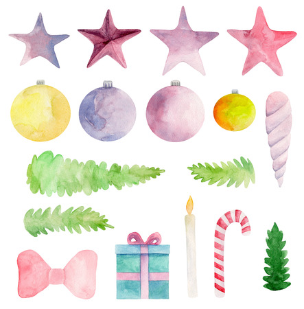 Watercolor Christmas clip art. New year clipart. Winter holiday set. Xmas