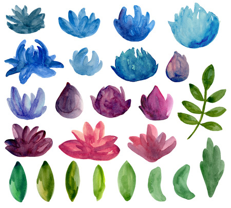 Watercolor abstract flowers clipart. Blue and purple floral Imagens