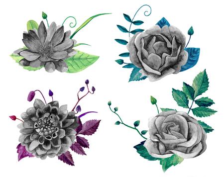 Watercolor black and white floral bouquet. Boho chic flowers clip art