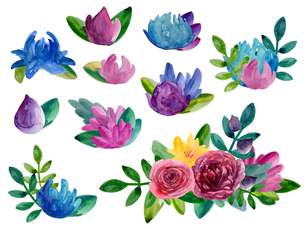 Watercolor abstract flowers bouquets clipart. Floral arrangement isolated Imagens