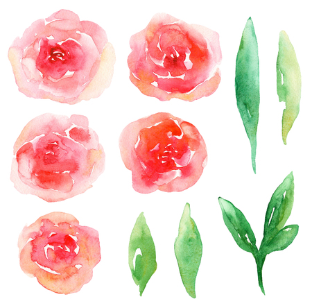 Red flowers clip art. Watercolor abstract floral set