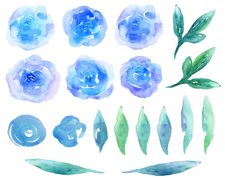 Blue watercolor flowers clipart. Teal abstract floral arrangement Imagens
