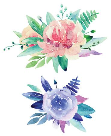 Watercolor floral bouquets clip art. Pink and purple flowers clipart Imagens