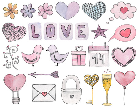 Valentines day clip art. Watercolor wedding symbol. Love illustration hand painted