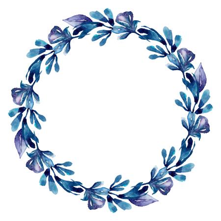 Watercolor blue wreath frame. Botanical floral clip art
