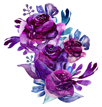 Watercolor purple flowers clip art. Floral bouquet illustration Фото со стока