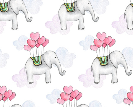 Watercolor elephant. Kids pattern. Valentines day background Imagens