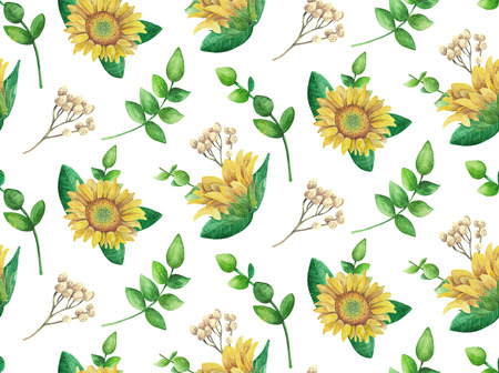 Sunflowers pattern. Watercolor rustic flowers. Country floral Imagens