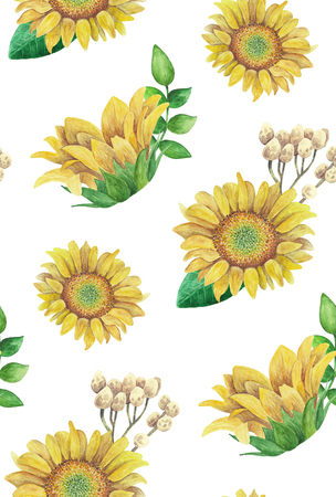 Sunflowers pattern. Watercolor rustic floral. Country flowers