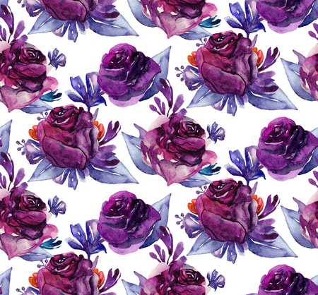 Watercolor purple flowers. Violet floral pattern Imagens