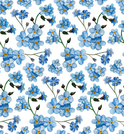 Watercolor forget me not not pattern. Blue flowers background