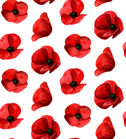 Watercolor poppy pattern. Red flowers background