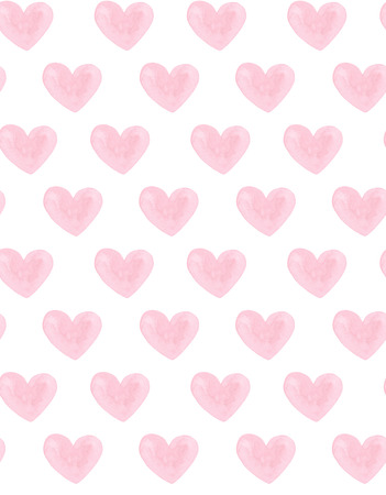 Watercolor pink hearts pattern. Valentines day. Love background