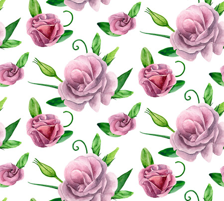 Watercolor roses pattern. Pink flowers background