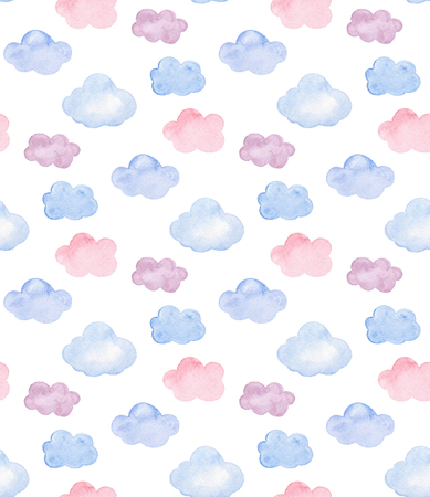 Watercolor pink, blue and purple clouds. Kids and baby pattern Imagens