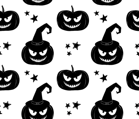 Halloween pattern. Black and white witch pumpkin background Imagens