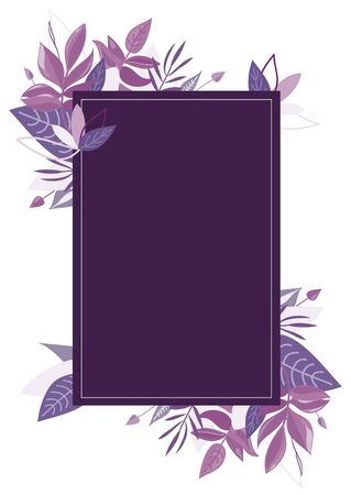 Purple leaves frame. Violet botanical vector