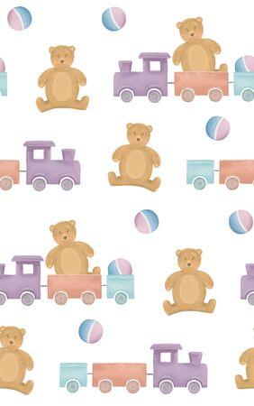 Kids toy illustration. Cute baby pattern