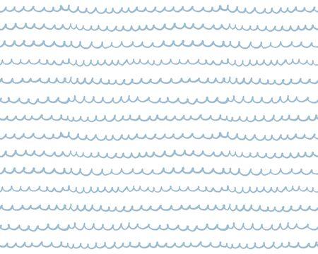 Nautical blue baby pattern. Sea wave. Kids illustraition background